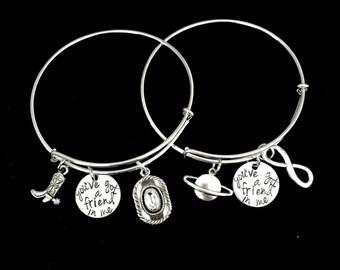 You've Got A Friend In Me Toy Story Inspired BFF Best Friend Charm Bangle Bracelet Set