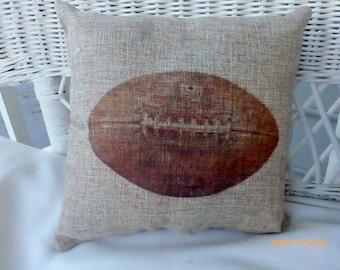 Football Pillows - Burlap pillows - Vintage sports pillows - Boys room decor - Fathers Day gift - Football decor - gift for him