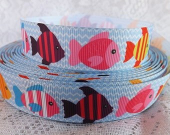 Fish ribbon ocean fish grosgrain ribbon 7/8 swimming fish Grosgrain ribbon