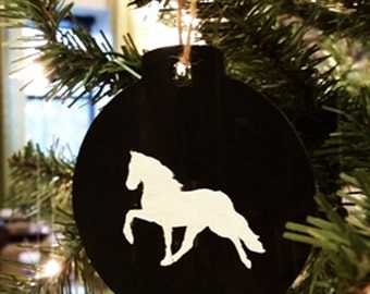 Hand-Painted Horse Chalkboard Christmas Ornament
