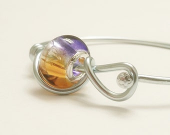 Bicycle Spoke Bracelet - Purple and Orange - Custom Size