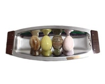Kromex Mid Century Modern Chrome Serving Platter Bread Tray Silver