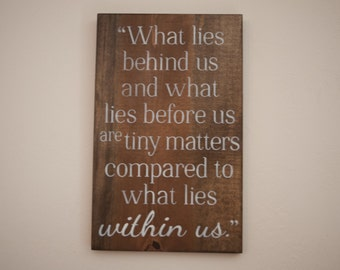 Inspirational quote, wooden sign, wood, saying, Emerson Quote, Emerson, within us