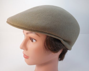 Vintage Country Gentleman Tan Wool Newspaper Boy Newsboy Cabbie Drivers Driving Cap Hat Golf Cap Hat Tan Camel Light Brown Wool Size Medium