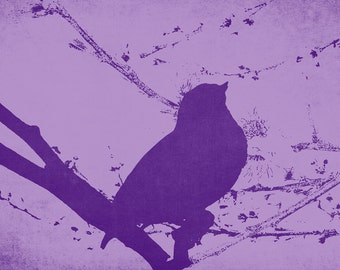 Bird on a Branch in Purple Abstract Unique Artwork, Coffeeshop Art, Nature Lover decor, For Her, Gift Idea, Violet Decor, Girl Nursery, Teen