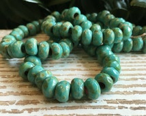 6x9mm turquoise roller beads, small large hole czech beads