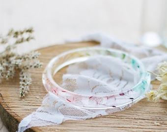 Rainbow Dandelion Bangle - Skinny Stacking Bangle - Resin Bangle , Stacking Bangles , Gifts for Her , Dandelion Jewelry , Rainbow Dandelion