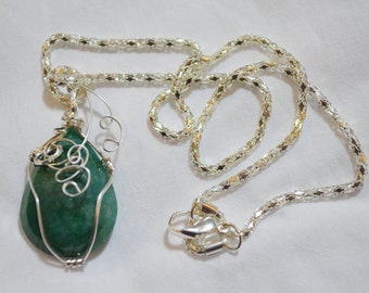 Natural Emerald .999 Pure Silver Wire Wrapped Pendant, Sterling Silver and Emerald Earrings and Bracelet