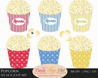 Popcorn clipart | Etsy