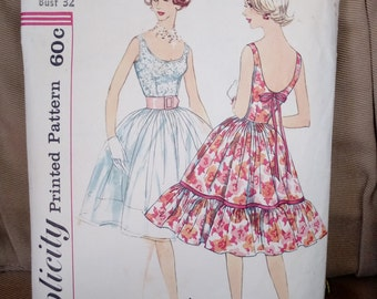 "Lovely Party Dress Vintage Women's Sewing Pattern Simplicity 3470  size 12* bust 32""  **opened** on sale** free ship**"