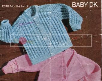 Baby Cardigan 12-18 months DK Sirdar 3134 Vintage Knitting Pattern PDF instant download