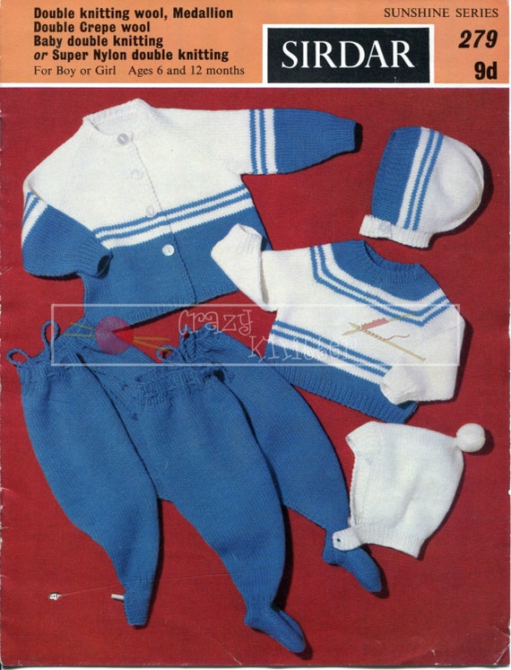 Baby Pram Set 6-12 months DK Sirdar 279 Vintage Knitting Pattern PDF instant download