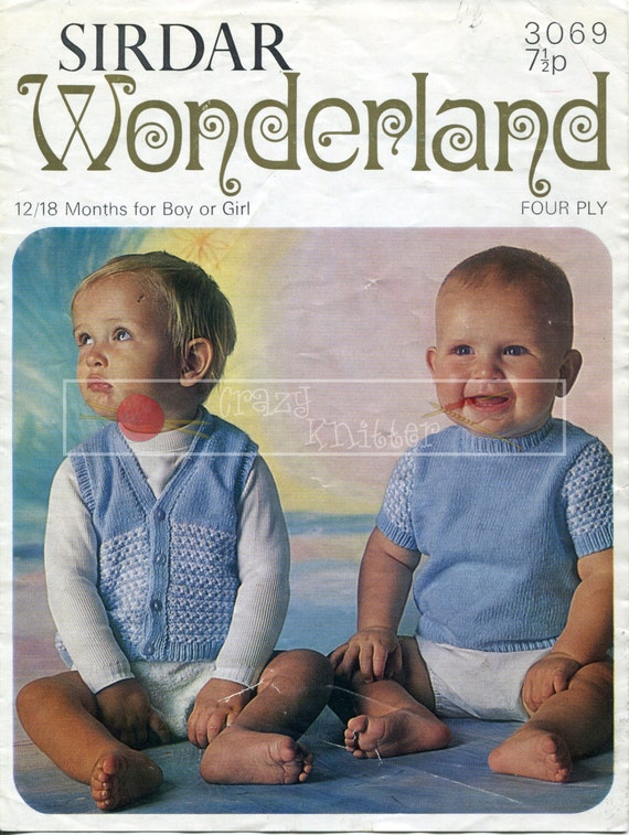 Baby Jumper & Waistcoat 12-18 months 4-ply Sirdar 3069 Vintage Knitting Pattern PDF instant download