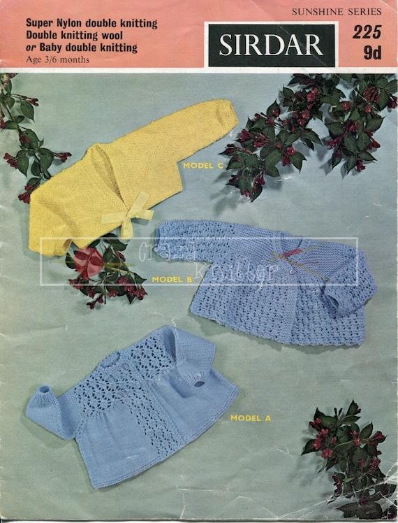Baby Matinee Coats 3-6 months DK Sirdar 225 Vintage Knitting Pattern PDF instant download
