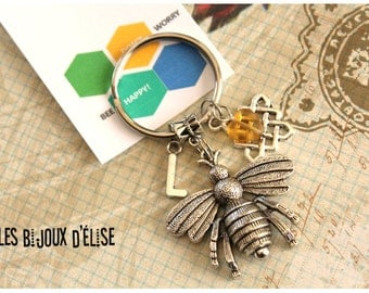 Sale - Personalized Bee Keychain  Bee Happy Keychain