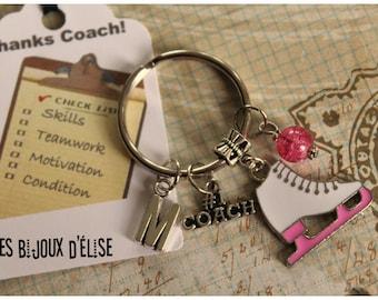 Personalized Coach #1 Keychain Ice Skate Keychain Winter Sport Keychain