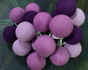 Mixx Purple Cotton Ball Lights for Chirtsmas and  for home decoration,wedding patio,indoor string lights,bedroom fairy lights,20 Bulbs