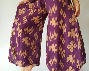 WL0113 Lady Purple soft wide leg style lady pants with elastic waistband