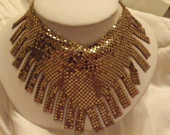 Whiting & Davis Vintage Gold Mesh Fringed Scarf Bib Necklace-On Sale Now!