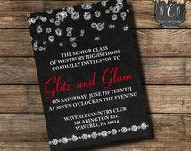 Prom Invitation, Prom Invitations, Prom Invite, Prom Invites, Glitz & Glam, Diamond Invitations, High School Prom, High School Dance