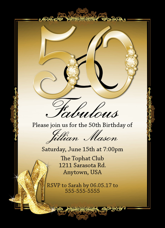 50 Fabulous Ways To Wear Glitter Nails Like A Boss: Fifty And Fabulous Invitations 50th Birthday