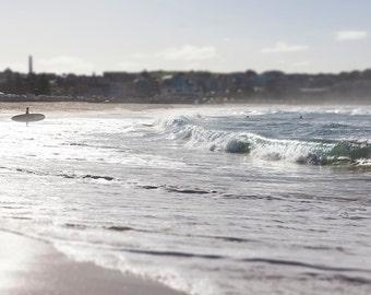 Beach photography, Beach print, Bondi print,Surfer, waves, Bondi Beach, Ocean photography,Tilt shift