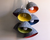 Gray Yellow Lampe shade Size S Suspension felted wool