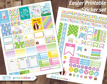 Easter Printable planner stickers, Birthday planner stickers, Erin Condren Printable Stickers, Easter stickers -  417