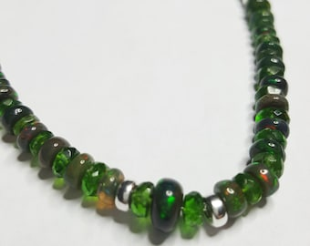 52.09ctw Black Fire Opal & Chrome Diopside Sterling Silver Necklace 16 inch