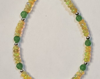 11.75ctw African Opal, Emerald 4mm and Sterling Silver Bead Bracelet 7 inch