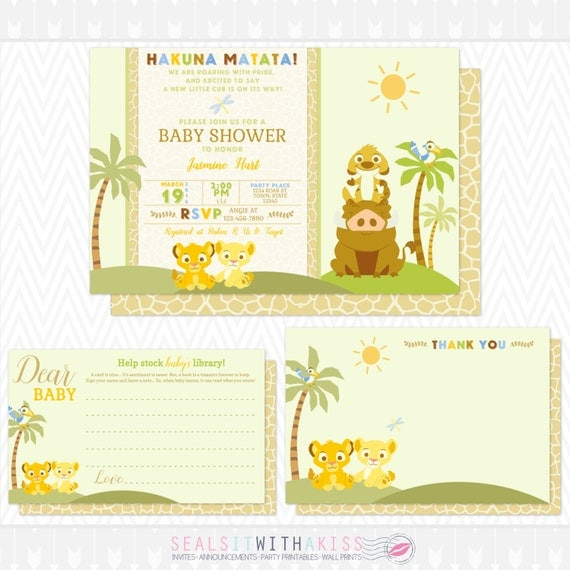 Baby Lion King Baby Shower Invitation Thank You Card and