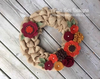 Fall Burlap Wreath, Fall Wreath,  Felt Flower Wreath, Orange, Rudy, Mustard Felt Flower Wreath