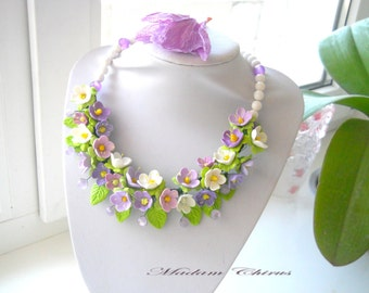 Necklace with agate, handmade necklace, elegant necklace, a necklace with flowers