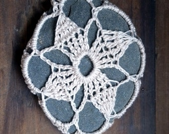 Crochet Stone, Lace Covered Beach Rocks, Pebbles, Wedding, Paperweight, Home Decor