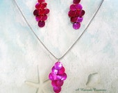 Shell Necklace and Earring Set in Magenta / Waterfall Jewelry Set / Shell Jewelry Set
