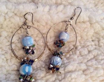 Silver tone dangle earrings 3 in