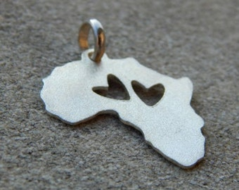 Africa silver pendant with two hearts