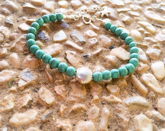 Silver bracelet | Beaded bracelet | bracelet with turquoise stones | home made jewelry's