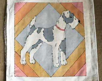Dog on Canvas Fabric Hand Stitched