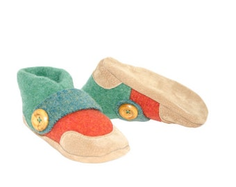 Kids Shoes, Toddler Slippers, from Recycled Wool & Non Slip Suede Leather, kids size 7.0 - 11.5.