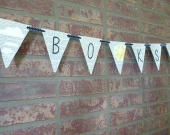 Book Pennant Made with Recycled parts of damaged books