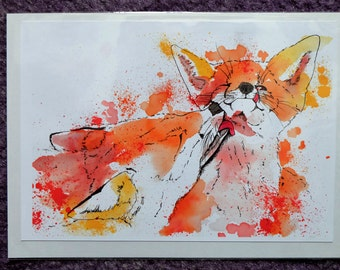 Inky Foxes Print