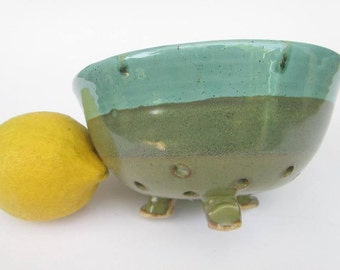 Ceramic Colander, Berry Bowl, Strainer, Handmade Perforated Kitchenware, Turquoise and Green