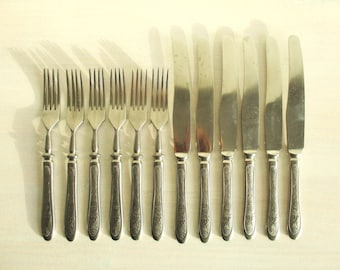 Vintage Cutlery Set of 12, Heavy Metal Knives and Forks, Stainless Steel Wedding Flatware, Soviet Union 1970 Retro Cutley
