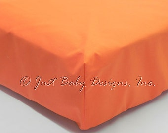 Fitted Crib Sheet - Orange Solid Cotton