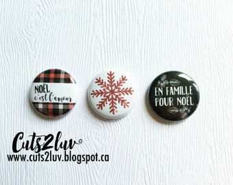 "3 buttons 1 ""in family for Christmas"