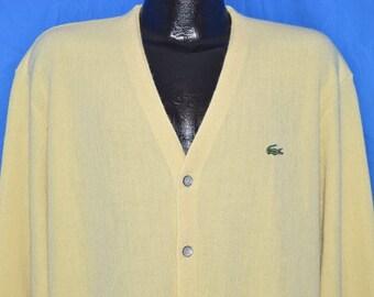 80s Izod Lacoste Yellow Cardigan Sweater Extra-Large
