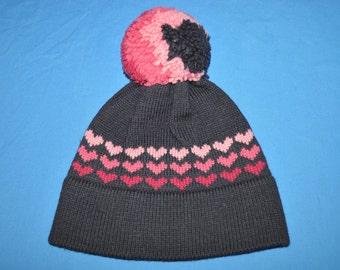 80s Purple Pink Vintage Hearts Wool Bobble Winter Hat