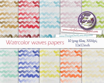 Watercolor Waves digital papers, Handpainted Wave, Thin wavy lines background, Ocean Waves pattern, sea wave lines, scallop watercolor paper