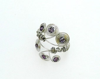 wrapped wire ring swarovski crystal ring silver handmade ring